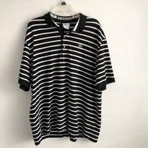 Lacoste Men's Black And White Striped Graphic Polo